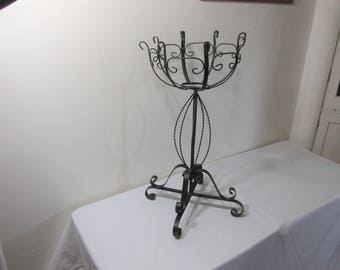 Wrought Iron Plant Stand Black
