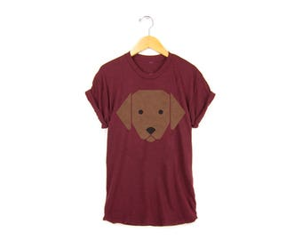 Geo Chocolate Lab Tee - Boyfriend Fit Crew Neck Labrador T-shirt with Rolled Cuffs in Heather Cardinal and Brown - Women's Size S-4XL