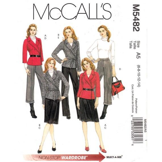 Raglan Wrap Jacket, Skirt, Pants Pattern McCalls 5482 Crop Trouser Womens Size 6 8 10 12 14