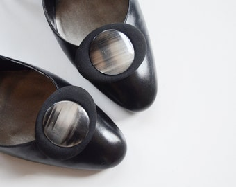 1950s Shimmery Black and Grey Oval Shoe Clips