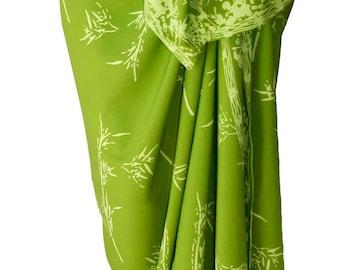 Bamboo Sarong Women's Clothing Beach Wrap Skirt - Batik Pareo Chartreuse Green Beach Sarong Asian Inspired Spa Wear - Bamboo Beach Wrap