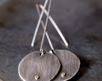 Long hanging perfectly imperfect fine silver and 18k yellow gold dotted disc earrings
