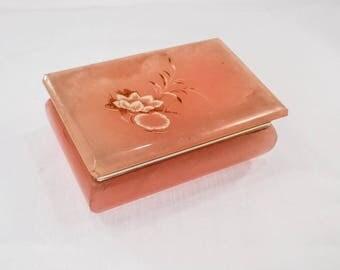 Vintage Peach Alabaster Trinket Box