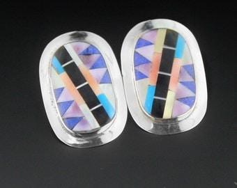 Vintage 80s Zuni Earrings Inlay Earrings, Sterling Silver, Zuni Jewelry, Native American Jewellery, Huge Earrings, Turquoise Earrings