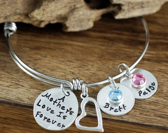 A Mother's Love is Forever, Mother's Bangle Bracelet, Silver Bangle Charm Bracelet, Name Bracelet, Mother's Day Gift, Gift for Mom