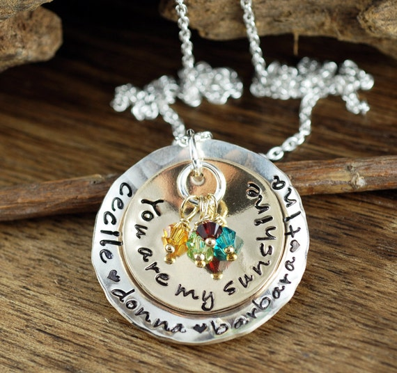 You Are My Sunshine Necklace, Hand Stamped Necklace, Personalized Jewelry, My only Sunshine Necklace, Mothers Necklace, Necklace for Mom