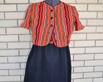 SALE vintage GIRLS dress and jacket, 70s shift dress, 1970s tribal print weave juniors size