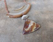 Boulder Opal, Pebble, Ribbon stone necklace - natural stone jewelry - adjustable length - earthy artisan handmade in Australia
