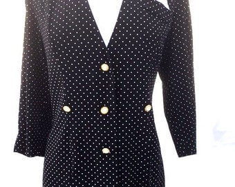 Vintage Black And White POLKA DOT Blouse / Quarter Sleeves / Womens Size Large