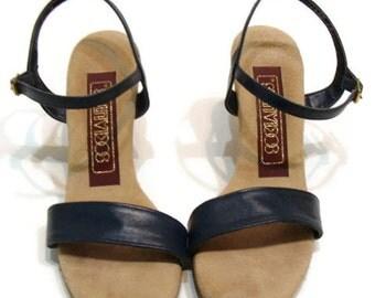 Vintage Navy Blue Sandals With Heels Vintage Navy Blue Leather Wood Heel Sandals Vintage Sandals For Women Retro Ankle Strap Heels