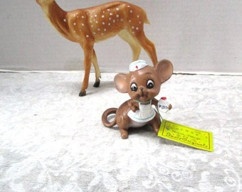 Vintage Mouse Nurse Figurine by Josef Original w/tag, Nurse Cap, Pill Bottle, Angel of Mercy, Cake Topper Small, Adorably Sweet, Japan