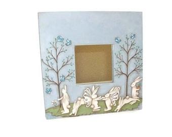 Fairy Bunnies On Ikea Mirror | Hand Painted Spring Bunny Scene