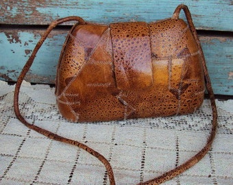 Vintage Reptile Lizard Skin Purse Crossbody Handbag Box Purse Hard Case Patchwork Leather Brown Leather 1970s