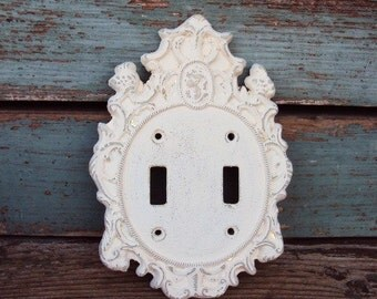Vintage Shabby Chic Light Switch Cover Plate Cameo French Chic French Provincial 1960s Distressed Antique White Hardware Floral Design