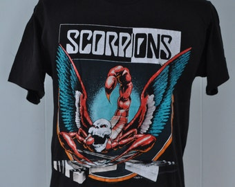 Scorpions TShirt Crazy World 90s Tour Album Tee Super SOft Thin Near Burnout LARGE