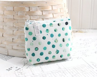 Small Polka Dot Coin Purse Blue and Green Change Purse Card Holder Zipper Pouch