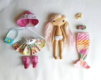 Handmade Doll Mermaid PlaySet - Mini Felt Dollhouse Doll with Mermaid Tail outfit, Dress, Hat, Boots, and Bag - Pocket Doll Gift For Girls