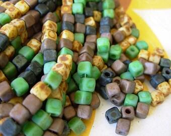 Czech Picasso Beads, 4mm Cube Beads, 6/0 Cubix, Czech Glass Beads- Matte Picasso Mix (100) #702