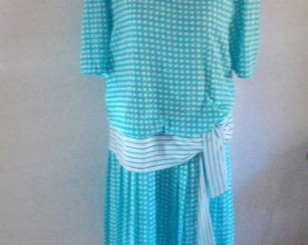 80s dress, drop waist dress, 20s dress, 80s costume, 20s costume, spotted blue dress, vintage 80s dress,