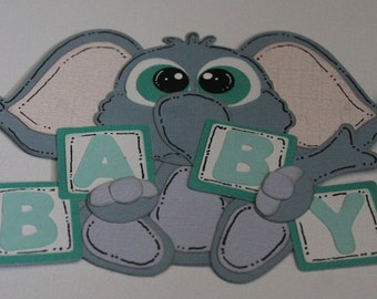 Baby Elephant Paper Piecing Pre Made Embellishment for Scrapbooking and Card making by AuntMargaretDesigns Baby Boy Blocks