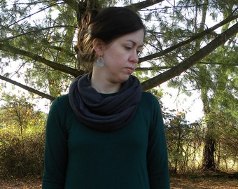 Cotton Blend Jersey Knit Infinity Scarf Handmade in the USA