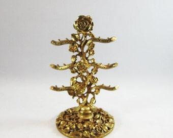 Gold Plated Roses Earring Holder, Gilded Filigree Earring Tree signed Matson,