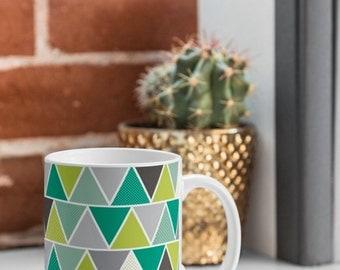 Modern Geometric Coffee Mug // Ceramic Coffee Cup // Tea Cup // Kitchen Drinkware // Home Decor // Emerald Triangulum Design // Green // Geo