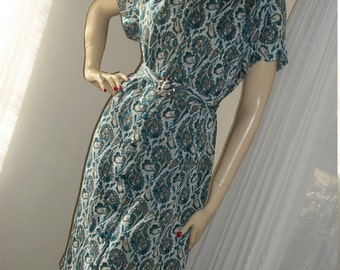 1950s Vintage Paisley Knit Dress with Belt Handmade Size M Fabulous Cond 1930s Style