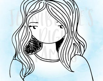 Simple Girl Digi Stamp #5 by Jennibellie