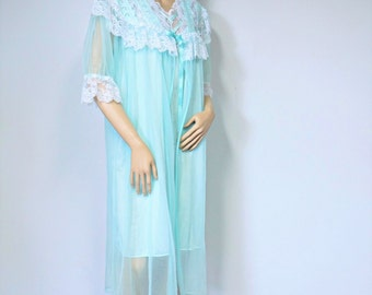 Peignoir Set Mint Green Peignoir Vintage Nightgown and Sheer Robe 1970's Bridal Lingerie Set Size Medium