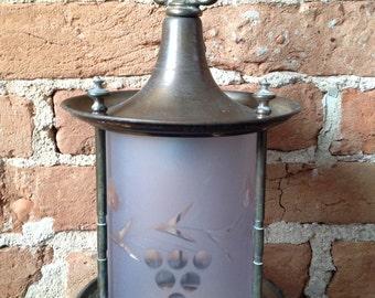 Vintage brass pendant lamp cut glass grapes finials carriage lamp
