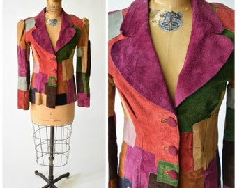 """70s Signed Bob Mooney """"Moon Man"""" Colorful Patchwork Suede Jacket from 1971 // Trendy Boho Chic Statement Fashion"""