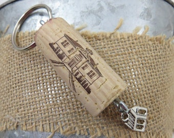 Wine Cork House Keychain in Gift Bag, Wine Cork Graphics match the Charms!