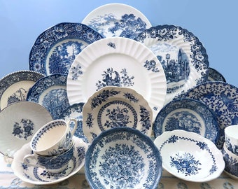 20 Piece Vintage Mismatched Blue & White Ironstone China Dinnerware Set, Service for 4, Dinner Plates, Side Plates, Bowls, Cups, Saucers