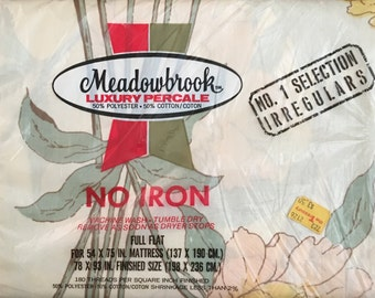 New Vintage Meadowbrook Luxury Percale Irregular FULL FLAT Sheet - New Old Stock - Rescued Bed Linens