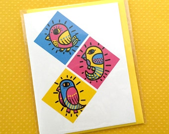 pop birds - blank notecard & envelope