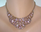 Amethyst Rhinestone Choker, Purple Rhinestone Bib, Wedding Necklace, Rhinestone Bridal Jewelry, Great Gatsby, Bridal Choker
