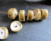 Beads Ceramic 'Honey Glazed Wide Square Eye' Patterned Beads Handmade Clay Pottery 502