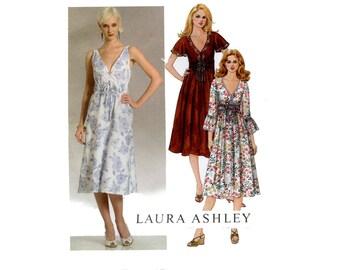 Laura Ashley Dress Pattern V Neck Summer Empire Flared Dress Sleeveless Flutter Flounce Sleeves McCalls 5316 Bust 36 38 40 42 Sewing Pattrn
