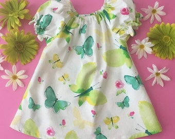Girls and babies white yellow bright green peasant dress