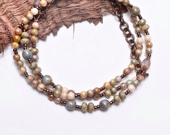 Beaded Necklace, Winter Whites, Handcrafted Jewelry
