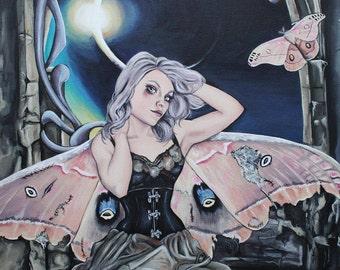 repairs, gothic steampunk art nouveau art print, moth wings portrait