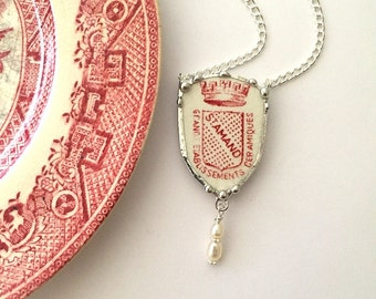 Reversible - Broken china jewelry-  necklace - Antique French china - shield shaped, red pink willow - broken plate necklace