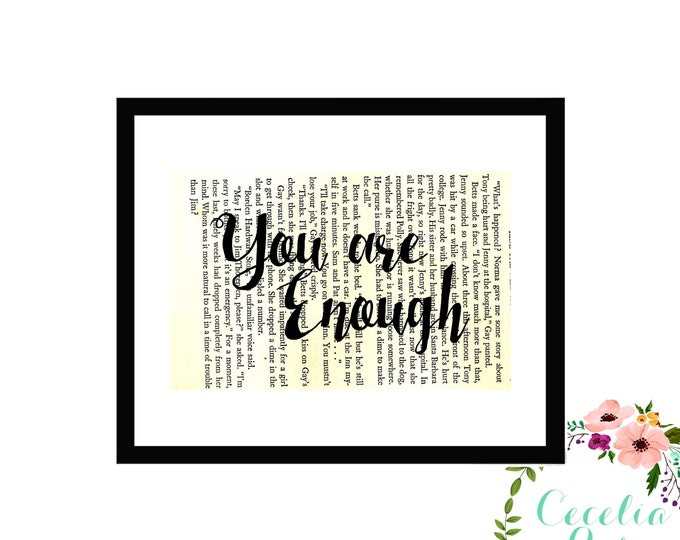 You Are Enough Inspirational Upcycled Vintage Book Page Art Box Frame Print Farmhouse Style