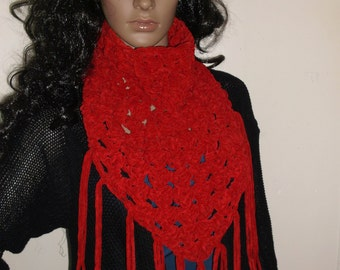 Thick and Chunky Crochet Kerchief Scarf, Cowl, Neckwarmer, Winter accessory, Triangle Cowl, Triangle Neck Warmer, in DEEP CHERRY RED
