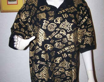 Men's South Pole Polo Size Large Black Gold Print Fashion Style Trendy Hip Hop Street Wear Dance Cool Guys Shirt Bling Boss Rapper Celebrity