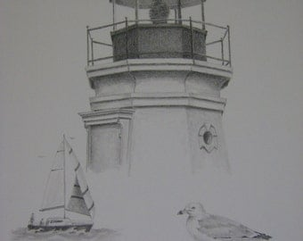 Lighthouse sailing sailboat seagull bird beach seascape cottage art original graphite pencil drawing m3DrawingPlus Melanie artist
