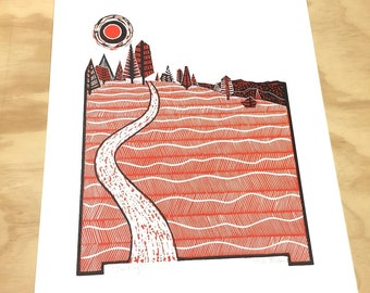 Hiking Print, Happy Camper, Camping Art Print, Linocut, Adventure Poster, Trail Running, Hiking Art, Mountain Wall Art, Nature Poster