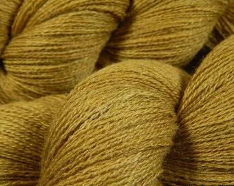 Hand Dyed Yarn - Lace Weight Silk Merino Wool Yarn - Old Gold - Knitting Yarn, Lace Yarn, Tonal Yarn, Wool Silk Yarn, Luxury Fibers