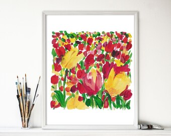 Tulips field Study, Art Print of  acrylic painting, colorful floral print, landscape art, tulips art print, mothers day fuchsia,Yellow